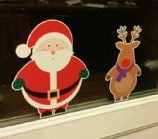 Santa And Rudolph Window Cling Reusable Christmas Sticker Decal